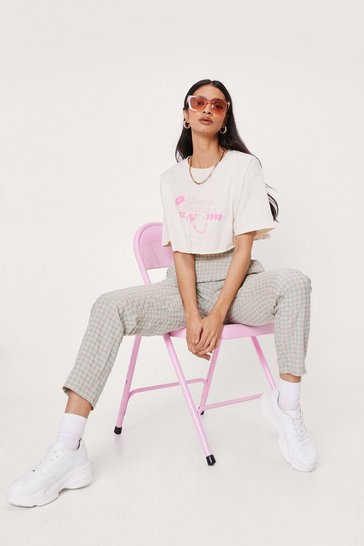 Candy pink High Waisted Elasticized Check Print Pants