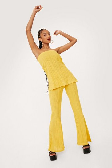 Mustard Ribbed Knit Top and Wide Leg Pants Set