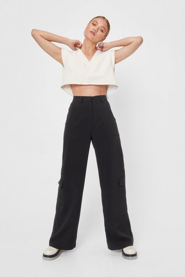 Black Multi Pocket Wide Leg Tailored Pants