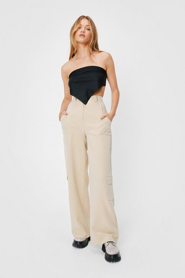 Camel We Better Pocket Going Wide-Leg Pants