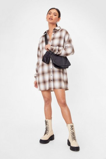 Brown Oversized Plaid Shirt Dress