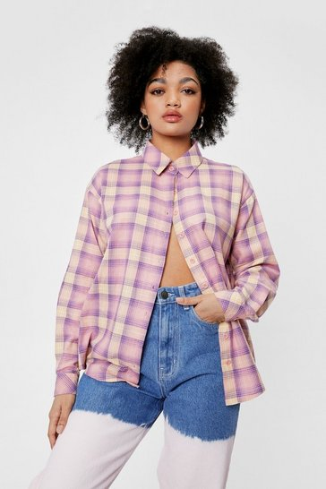 Pink Once We Check Started Petite Relaxed Shirt