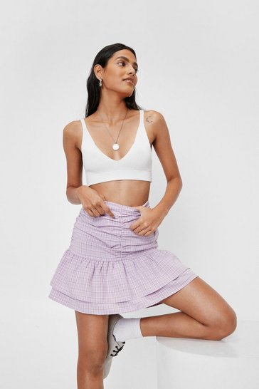 Lilac Ruched Check Print Tiered Mini Skirt