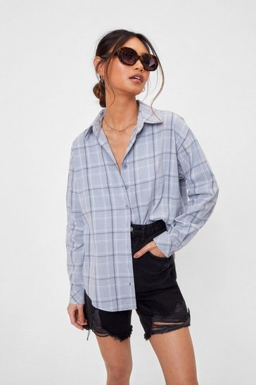 Blue The Drama's Over-sized Petite Check Shirt