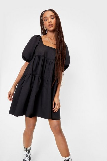 Black Puff Sleeve Tiered Smock Mini Dress
