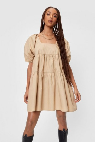 Natural beige Puff Sleeve Tiered Smock Mini Dress