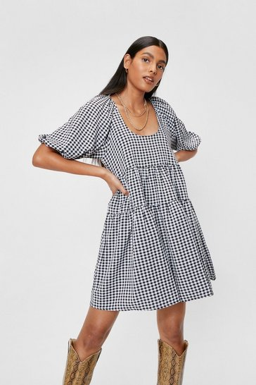 Black Gingham Puff Sleeve Tiered Smock Mini Dress