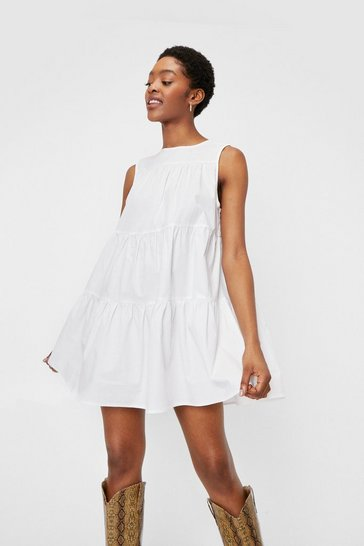 White Tiered Sleeveless Poplin Smock Mini Dress