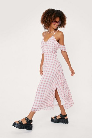 Apple red Cold Shoulder Gingham Print Midi Dress