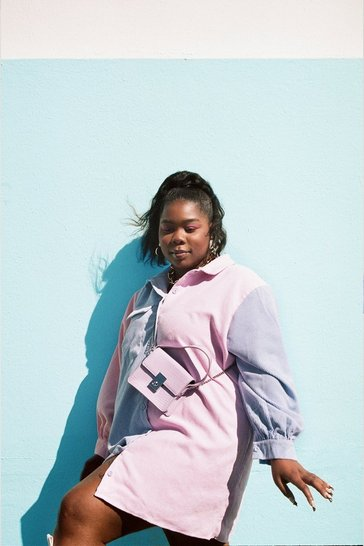 Lilac Plus Size Colorblock Corduroy Shirt Dress