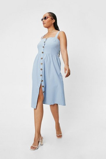 Cornflower blue Plus Size Button Linen Look Midi Dress