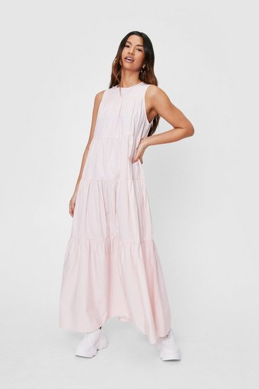 Baby pink Sleeveless Tiered Maxi Smock Dress