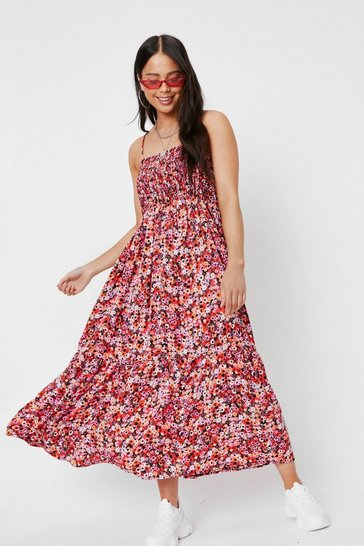 Red Petite Shirred Floral Print Midi Dress