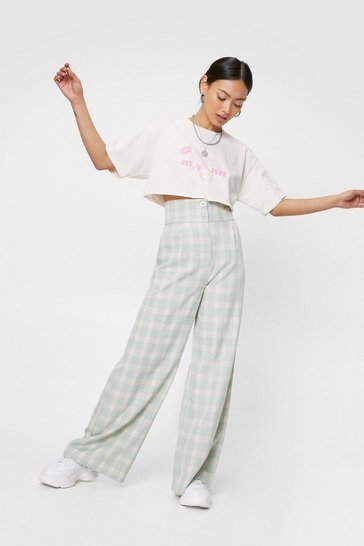 Sage Petite Check Print Wide Leg Pants