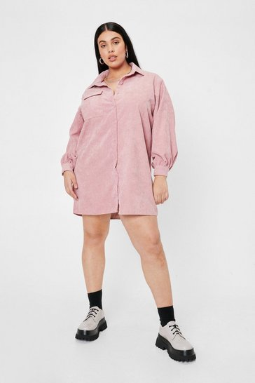 Rose Plus Size Corduroy Shirt Mini Dress