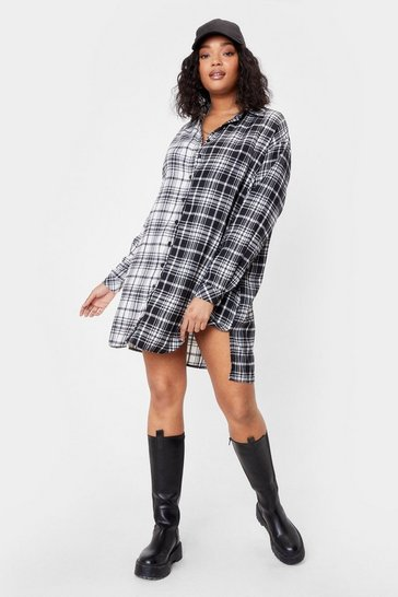 Black We Best Check Going Plus Shirt Mini Dress