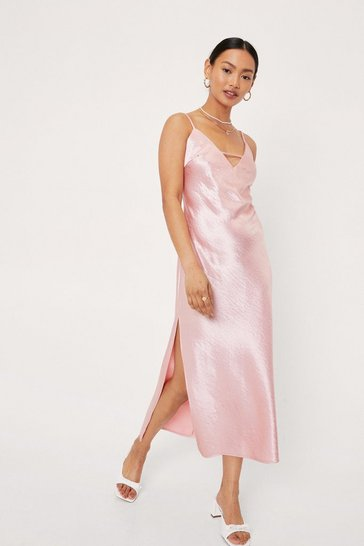 Peach Petite Strappy Satin Slit Midi Dress