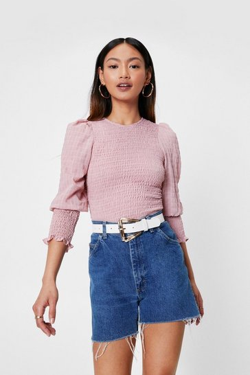 Pink Petite Shirred Puff Sleeve Blouse