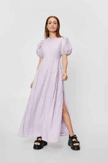 Lilac Petite Puff Sleeve Split Hem Maxi Dress