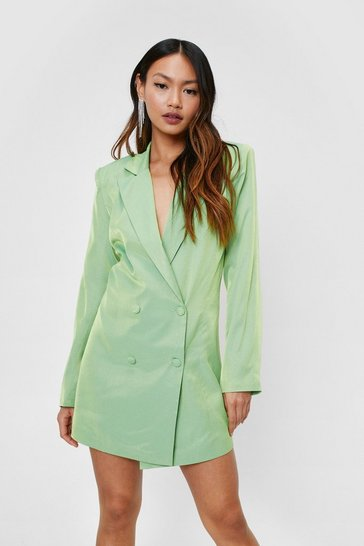 Green Petite Shimmer Double Breasted Mini Blazer Dress