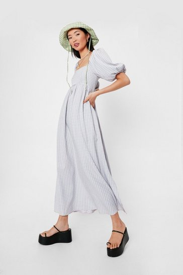 Baby pink Gingham Print Square Neck Maxi Dress