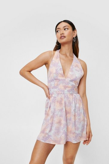 Lilac Petite Tie Dye Print Halter Neck Mini Dress