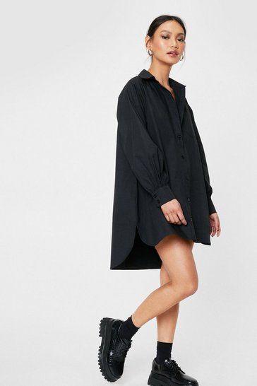 Black Petite Oversized Shirt Mini Dress