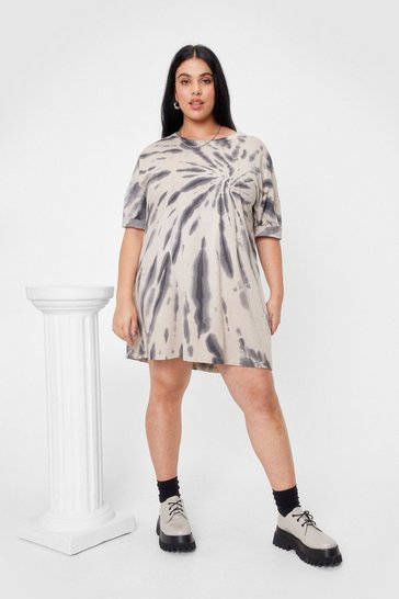Nude Plus Size Tie Dye Mini T-Shirt Dress