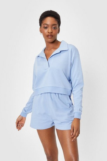 Pale blue Jersey Cropped Sweatshirt and Shorts Lounge Set