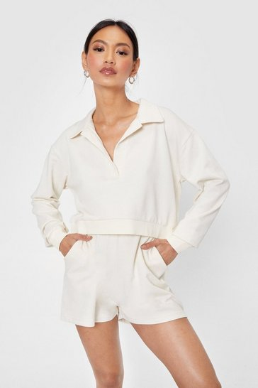 Stone Jersey Cropped Sweatshirt and Shorts Lounge Set