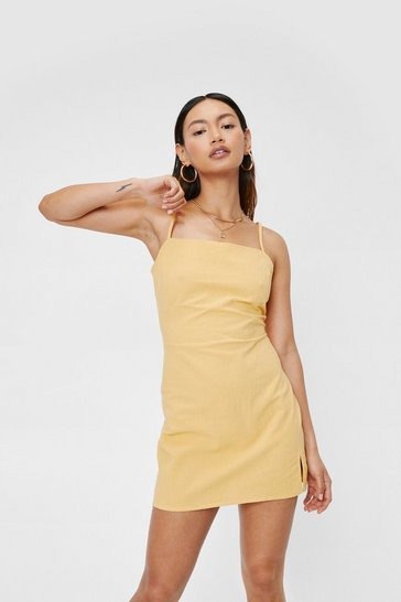 Yellow Petite Open Back Strappy Mini Dress