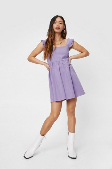 Purple Petite Ruffle Detail Square Neck Smock Mini Dress