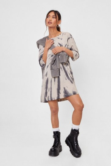 Nude Petite Tie Dye Mini T-Shirt Dress