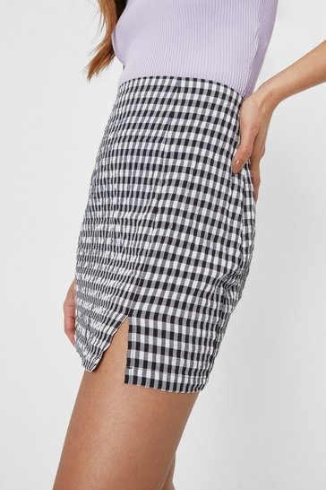 Black Petite Gingham Check Split Hem Mini Skirt