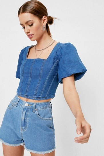 Light blue Petite Denim High Waisted Raw Hem Shorts