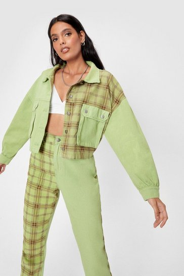 Green Oversized Check Print Contrasting Denim Jacket