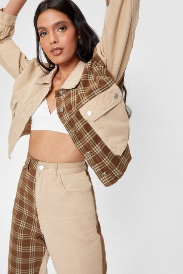 Sand Oversized Check Print Contrasting Denim Jacket