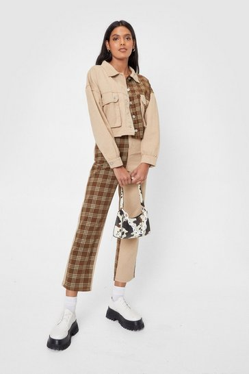 Sand Check Print Contrasting Denim Mom Jeans