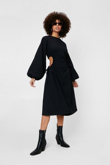 Black Linen Look Cut Out Balloon Sleeve Midi Dress