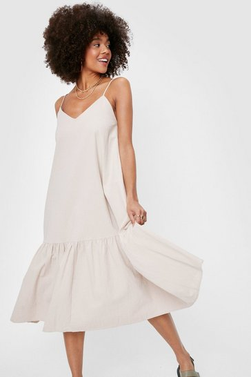 Stone Oversized V Neck Linen Look Midi Dress