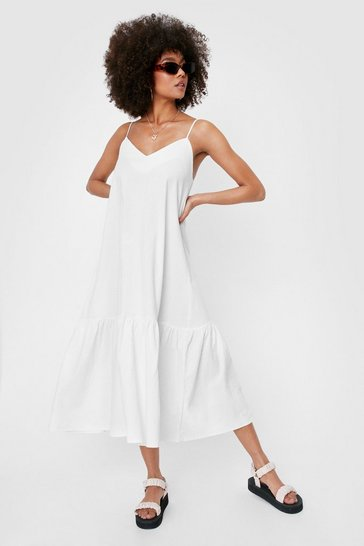 White Oversized V Neck Linen Look Midi Dress