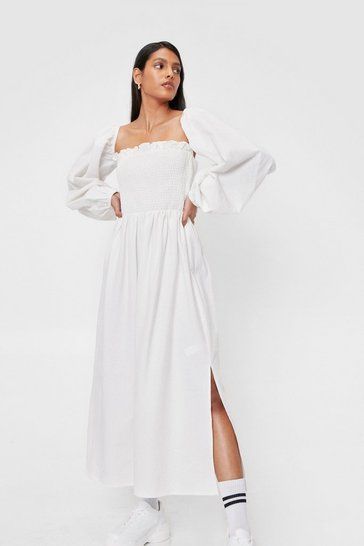 White Puff Sleeve Shirred Linen Look Midi Smock Dress