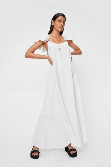White Ruffle Linen Look Relaxed Maxi Dress
