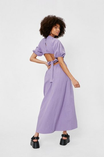 Purple Linen Cut Out Open Back Midi Dress