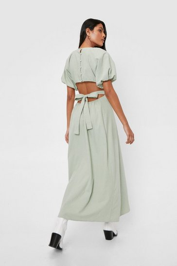 Sage Linen Cut Out Open Back Midi Dress