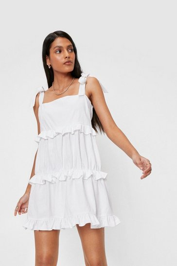 White Linen Look Ruffle Square Neck Mini Dress