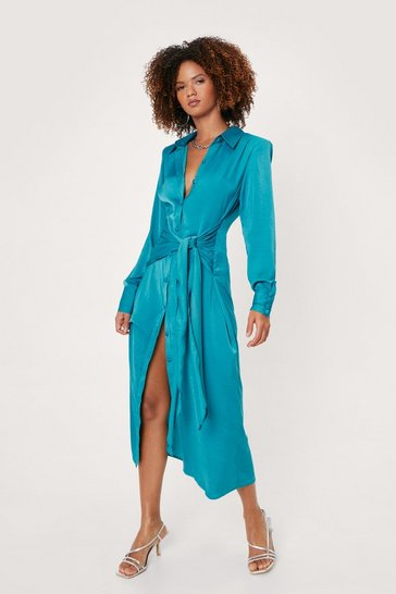 Jade Satin Tie Midi Shirt Dress