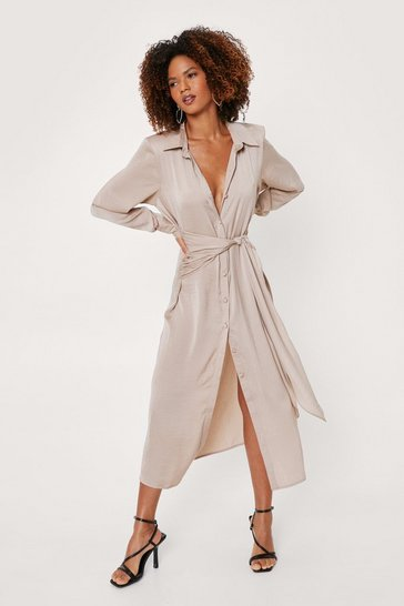 Natural Satin Tie Midi Shirt Dress