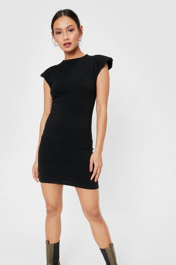 Black Petite Shoulder Padded Mini Dress
