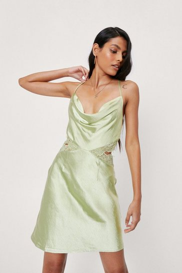 Lime Cowl Neck Lace Insert Satin Mini Dress